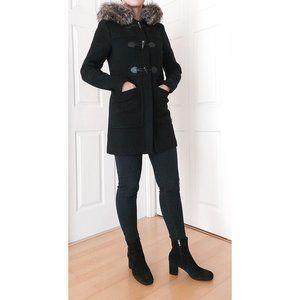 BCBG BCBGeneration Women Black Hooded Wool Coat XS Detachable Faux Fur